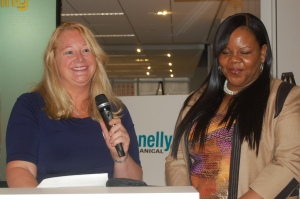 Sandra Beck presenting a beauty award at Shining Service World Wide Fleet Week 2012 in NYC
